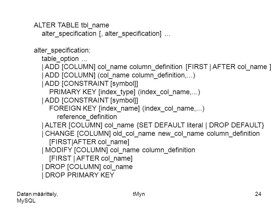 Datan m rittely mysql ppt lataa - Alter table add foreign key ...